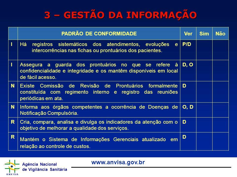 Agência Nacional de Vigilância Sanitária www.anvisa.gov.br 3 – GESTÃO DA INFORMAÇÃO PADRÃO DE CONFORMIDADEVerSimNão IHá registros sistemáticos dos ate
