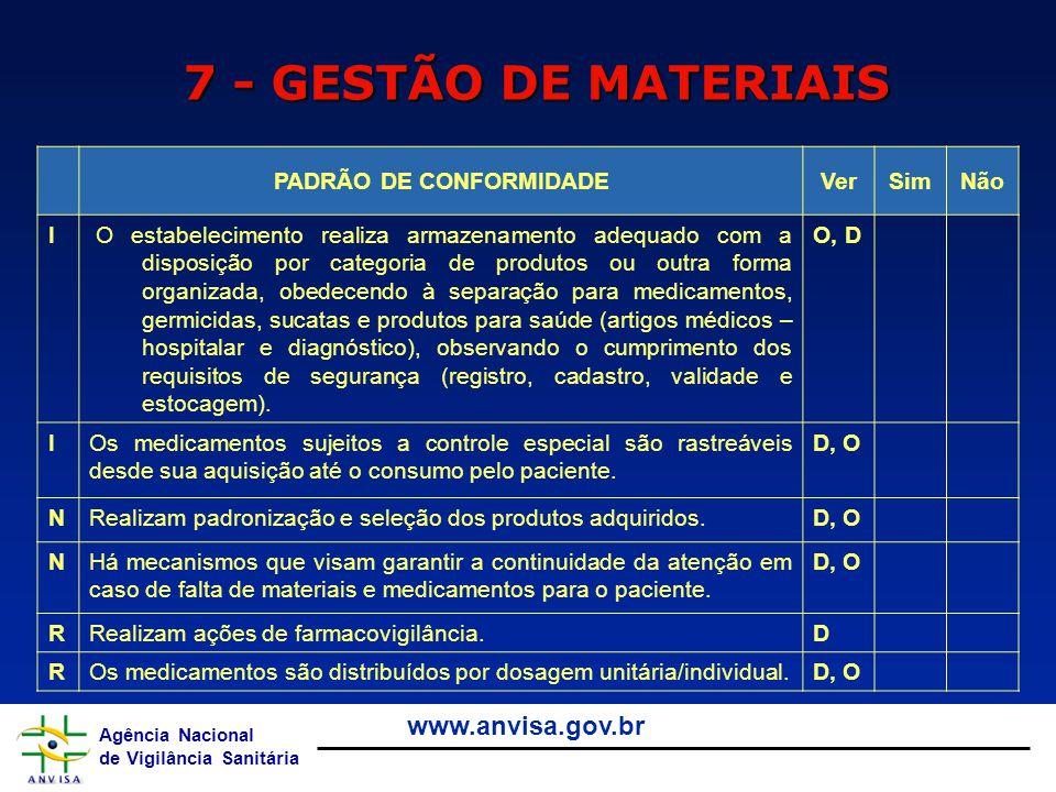 Agência Nacional de Vigilância Sanitária www.anvisa.gov.br 7 - GESTÃO DE MATERIAIS PADRÃO DE CONFORMIDADEVerSimNão I O estabelecimento realiza armazen