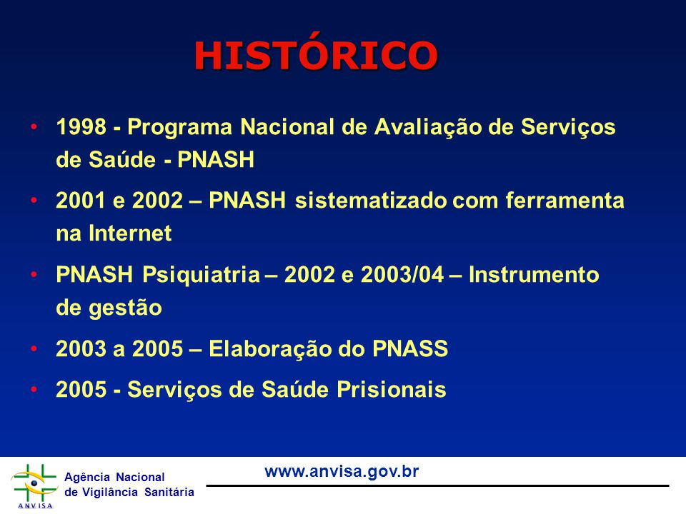 Agência Nacional de Vigilância Sanitária www.anvisa.gov.br 1998 - Programa Nacional de Avaliação de Serviços de Saúde - PNASH 2001 e 2002 – PNASH sist