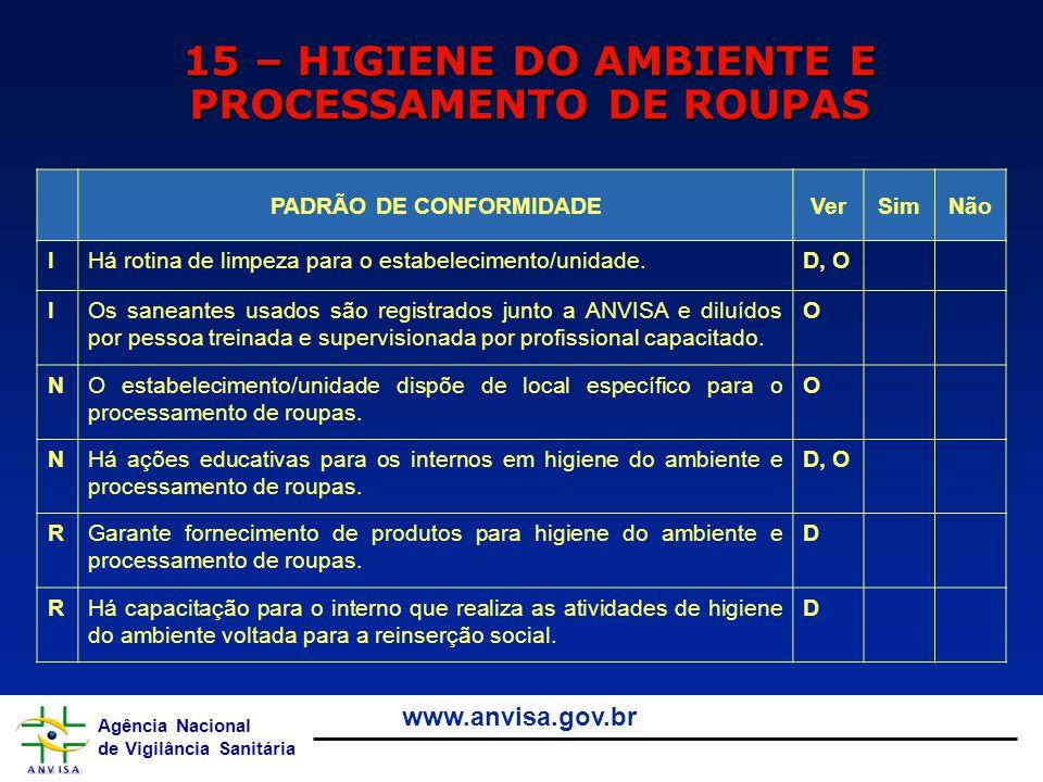 Agência Nacional de Vigilância Sanitária www.anvisa.gov.br 15 – HIGIENE DO AMBIENTE E PROCESSAMENTO DE ROUPAS PADRÃO DE CONFORMIDADEVerSimNão IHá roti