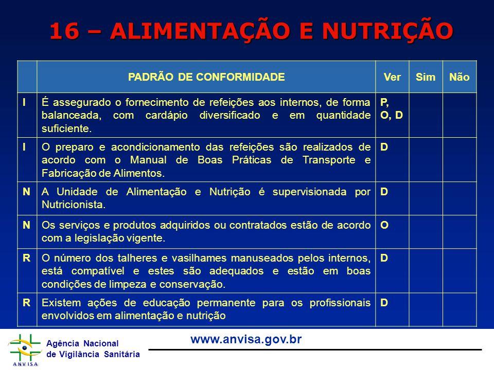Agência Nacional de Vigilância Sanitária www.anvisa.gov.br 16 – ALIMENTAÇÃO E NUTRIÇÃO PADRÃO DE CONFORMIDADEVerSimNão IÉ assegurado o fornecimento de