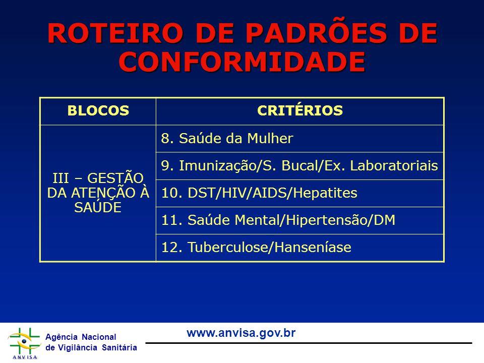 Agência Nacional de Vigilância Sanitária www.anvisa.gov.br ROTEIRO DE PADRÕES DE CONFORMIDADE BLOCOSCRITÉRIOS III – GESTÃO DA ATENÇÃO À SAÚDE 8. Saúde