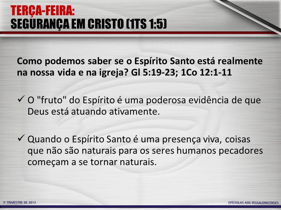 TERÇA-FEIRA: SEGURANÇA EM CRISTO (1TS 1:5) Como podemos saber se o Espírito Santo está realmente na nossa vida e na igreja? Gl 5:19-23; 1Co 12:1-11 O