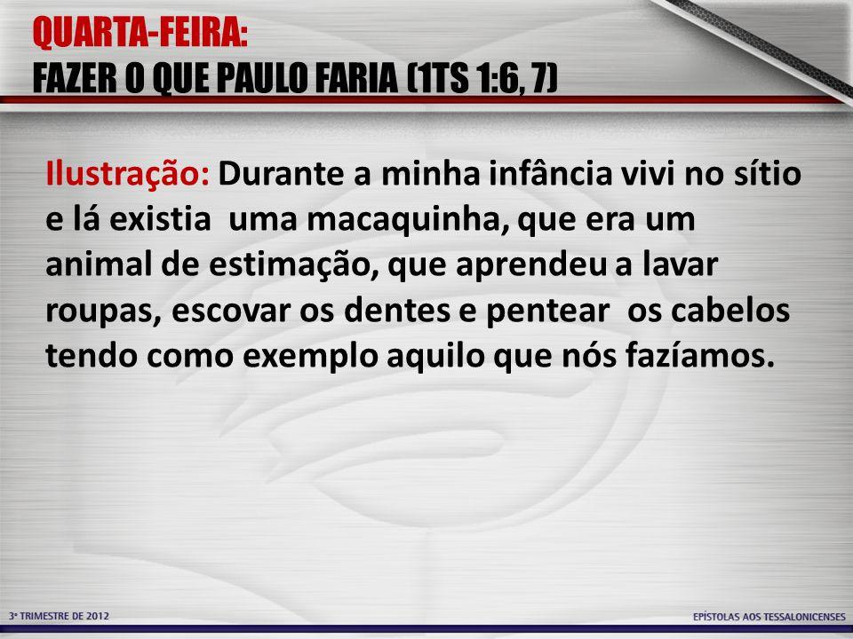 QUARTA-FEIRA: FAZER O QUE PAULO FARIA (1TS 1:6, 7) Ilustração: Durante a minha infância vivi no sítio e lá existia uma macaquinha, que era um animal d