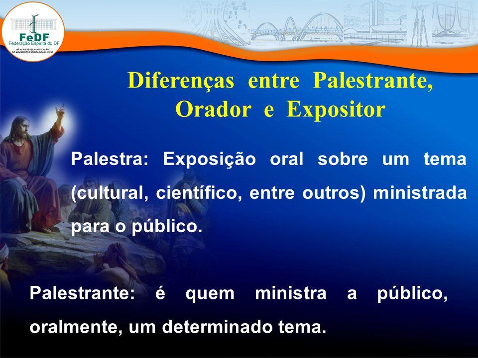 Diferenças entre Palestrante, Orador e Expositor Palestra: Exposição oral sobre um tema (cultural, científico, entre outros) ministrada para o público.