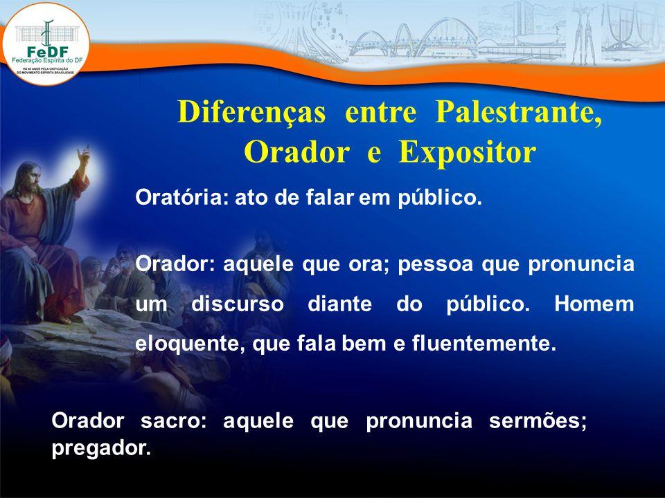 Diferenças entre Palestrante, Orador e Expositor Oratória: ato de falar em público.