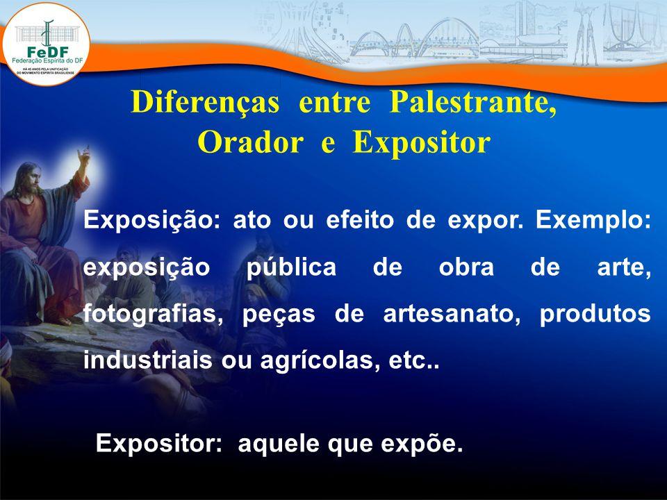 Diferenças entre Palestrante, Orador e Expositor Exposição: ato ou efeito de expor.