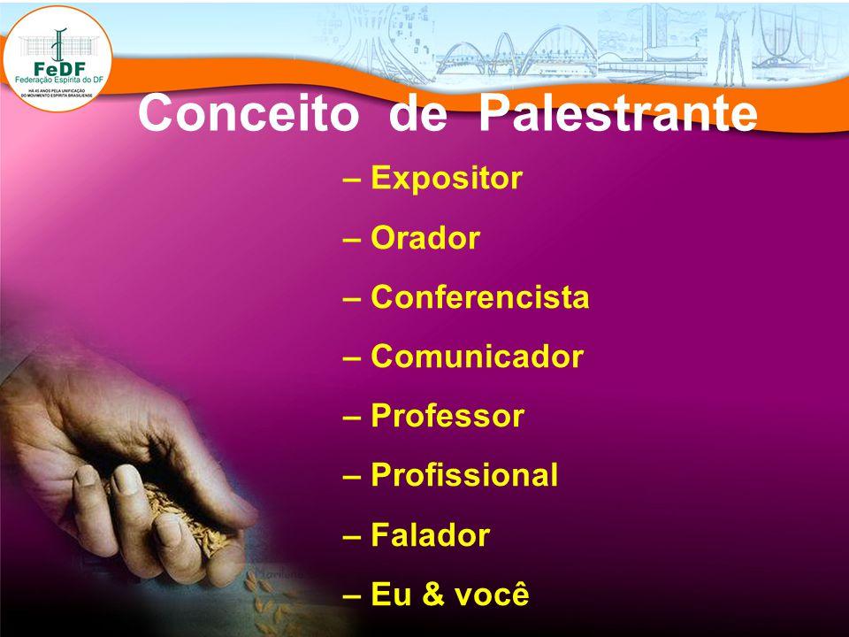 Conceito de Palestrante – Expositor – Orador – Conferencista – Comunicador – Professor – Profissional – Falador – Eu & você