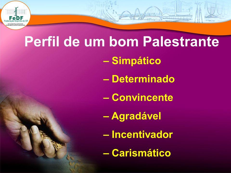 Perfil de um bom Palestrante – Simpático – Determinado – Convincente – Agradável – Incentivador – Carismático