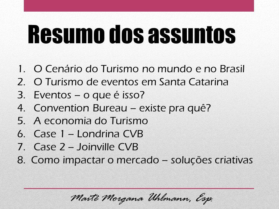 Resumo dos assuntos 1. O Cenário do Turismo no mundo e no Brasil 2. O Turismo de eventos em Santa Catarina 3. Eventos – o que é isso? 4. Convention Bu