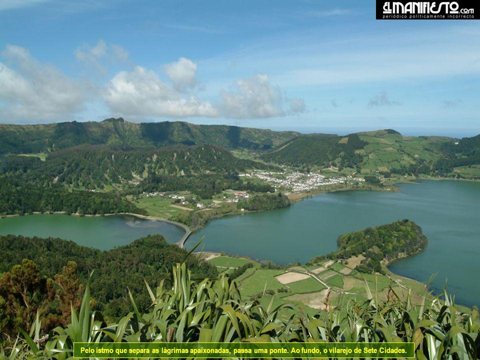 Sete Cidades, fica no extremo ocidental da ilha de S. Miguel. O verde e o azul de duas lagoas que nos lembra inúmeras lendas; de Sete Bispos, de Sete