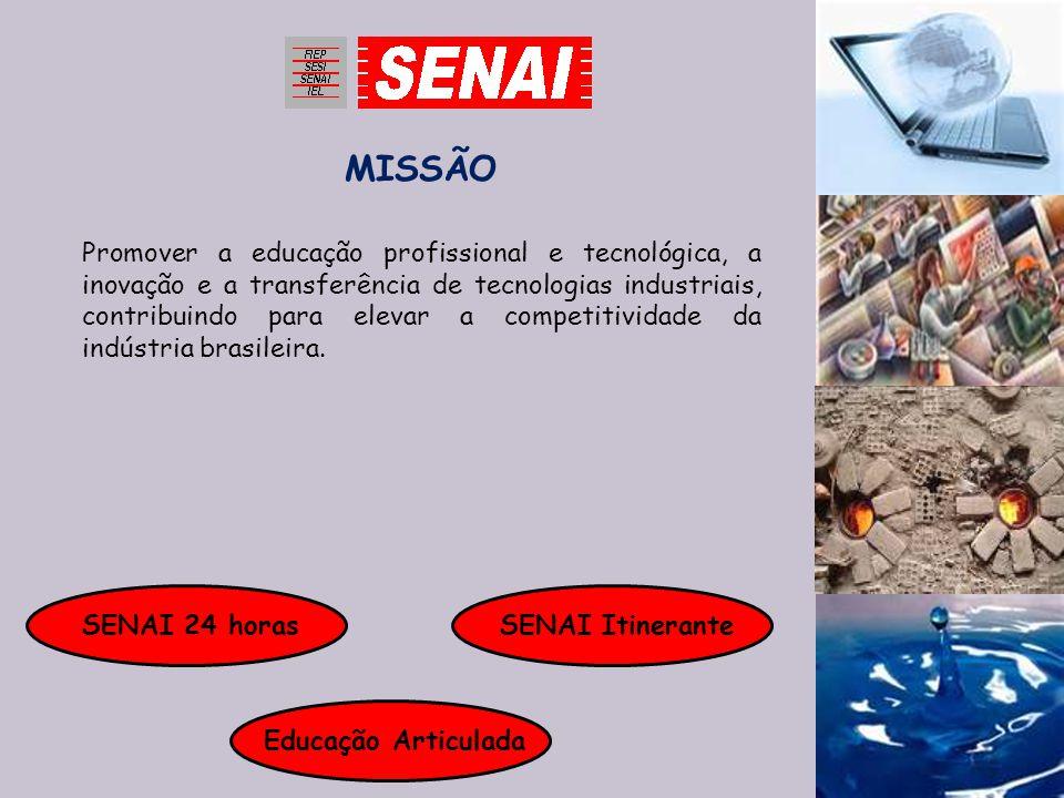 MISSÃO Promover a educação profissional e tecnológica, a inovação e a transferência de tecnologias industriais, contribuindo para elevar a competitivi