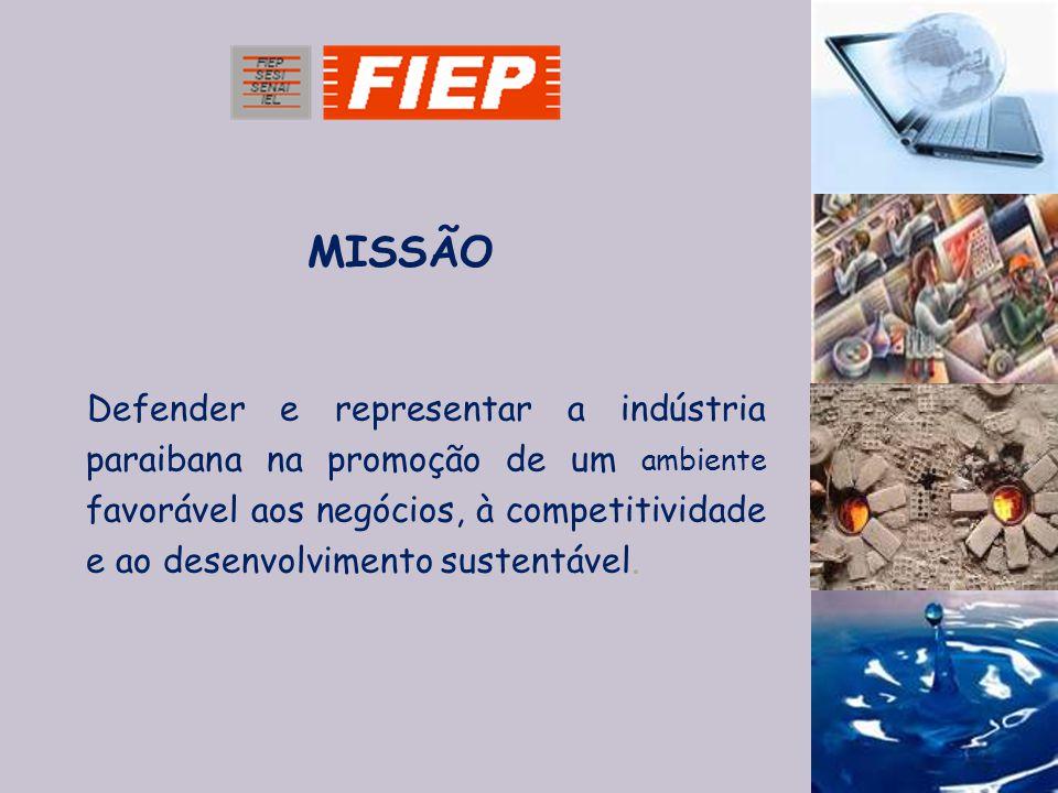 Defender e representar a indústria paraibana na promoção de um ambiente favorável aos negócios, à competitividade e ao desenvolvimento sustentável. MI