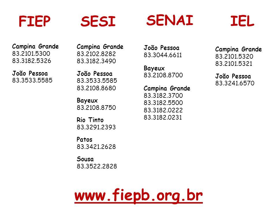 www.fiepb.org.br Campina Grande 83.2102.8282 83.3182.3490 João Pessoa 83.3533.5585 83.2108.8680 Bayeux 83.2108.8750 Rio Tinto 83.3291.2393 Patos 83.34