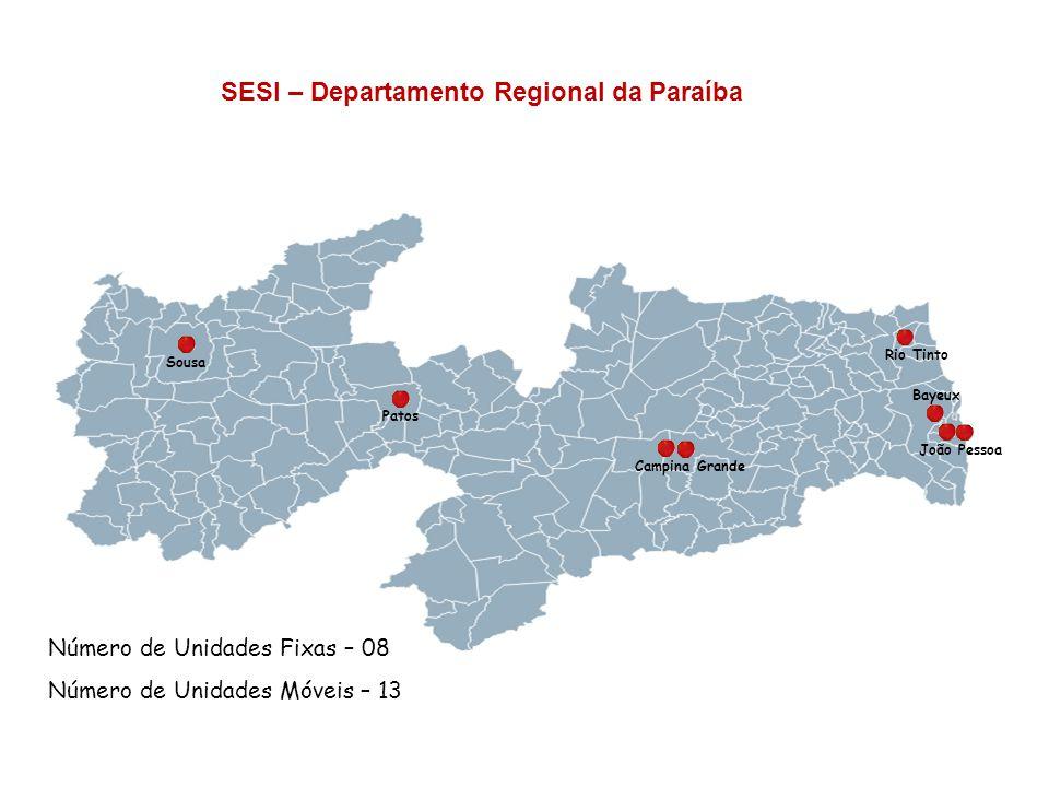 SESI – Departamento Regional da Paraíba Número de Unidades Fixas – 08 Número de Unidades Móveis – 13 Campina Grande Sousa Patos Rio Tinto João Pessoa