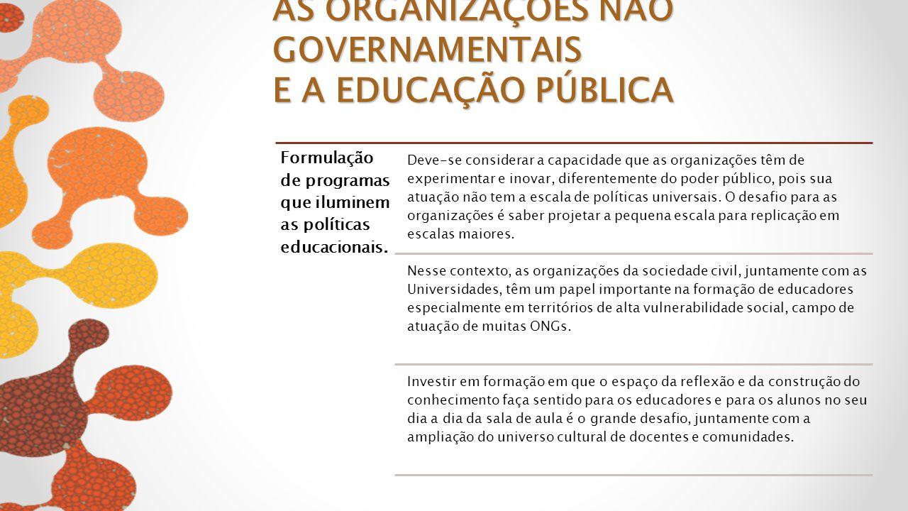 Formulação de programas que iluminem as políticas educacionais. Deve-se considerar a capacidade que as organizações têm de experimentar e inovar, dife