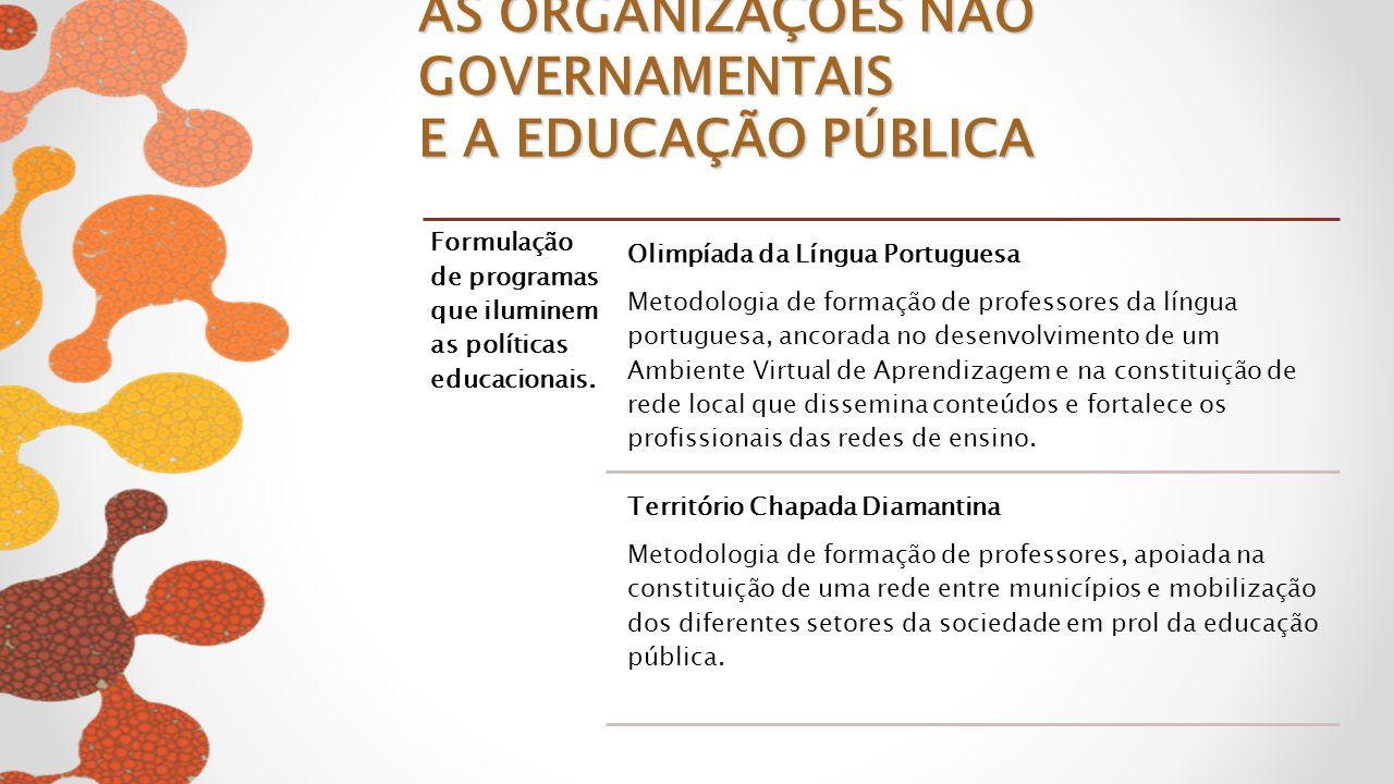 Formulação de programas que iluminem as políticas educacionais. Olimpíada da Língua Portuguesa Metodologia de formação de professores da língua portug