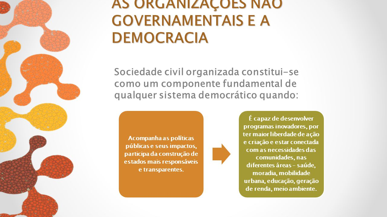 Sociedade civil organizada constitui-se como um componente fundamental de qualquer sistema democrático quando: Acompanha as políticas públicas e seus