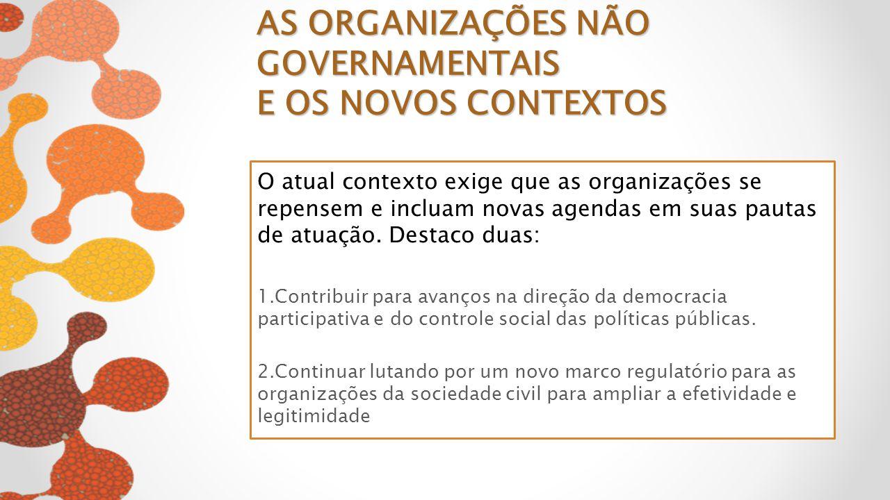 O atual contexto exige que as organizações se repensem e incluam novas agendas em suas pautas de atuação. Destaco duas: 1.Contribuir para avanços na d