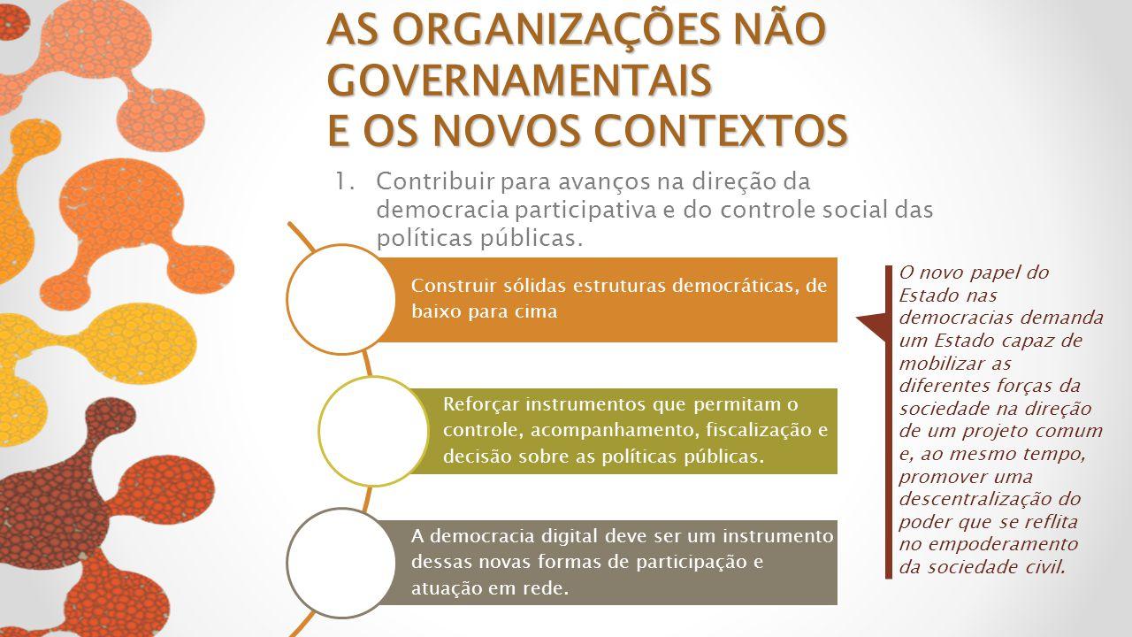 2.Continuar lutando por um novo marco regulatório para as organizações da sociedade civil para ampliar a efetividade e legitimidade AS ORGANIZAÇÕES NÃO GOVERNAMENTAIS E OS NOVOS CONTEXTOS A criação de formas inovadoras de atuação junto ao estado e à sociedade civil deve considerar o fazer compartilhado - fazer com e não fazer para .