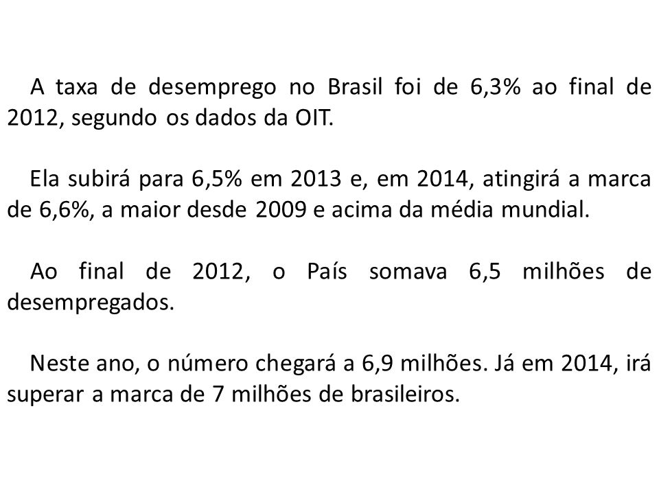 A taxa de desemprego no Brasil foi de 6,3% ao final de 2012, segundo os dados da OIT.
