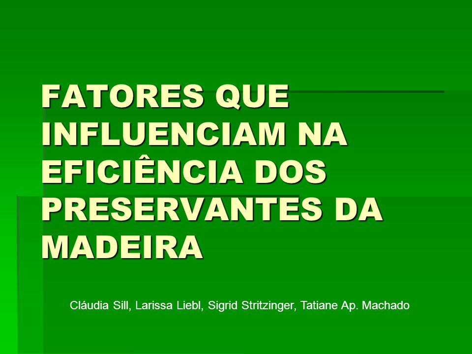 FATORES QUE INFLUENCIAM NA EFICIÊNCIA DOS PRESERVANTES DA MADEIRA Cláudia Sill, Larissa Liebl, Sigrid Stritzinger, Tatiane Ap.