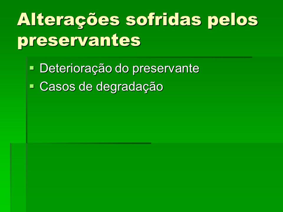 Alterações sofridas pelos preservantes  Deterioração do preservante  Casos de degradação