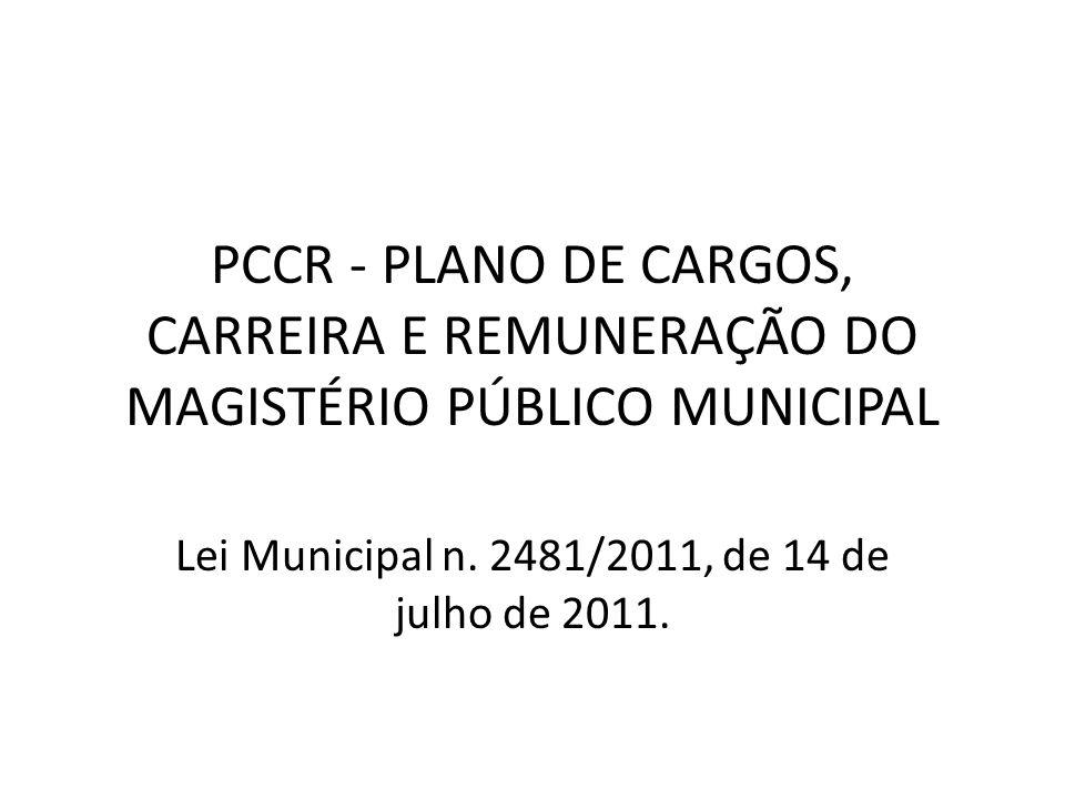 PCCR - PLANO DE CARGOS, CARREIRA E REMUNERAÇÃO DO MAGISTÉRIO PÚBLICO MUNICIPAL Lei Municipal n.