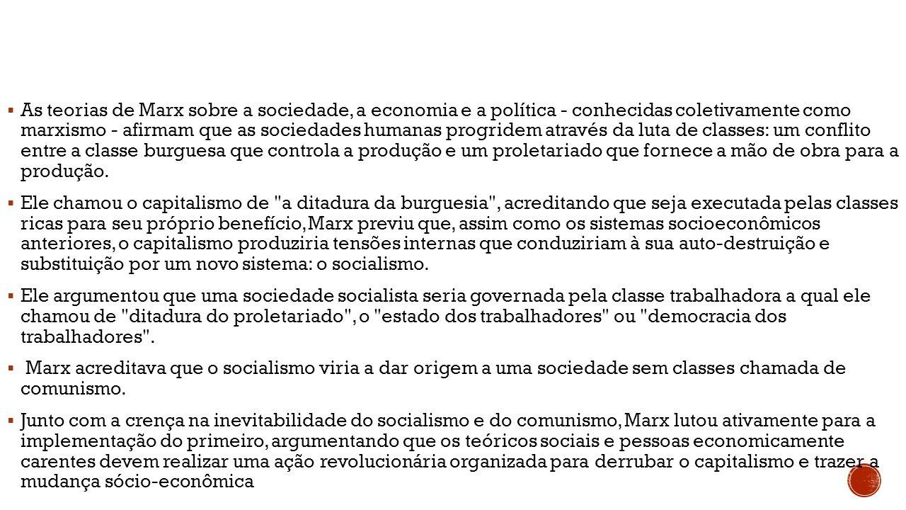  As teorias de Marx sobre a sociedade, a economia e a política - conhecidas coletivamente como marxismo - afirmam que as sociedades humanas progridem
