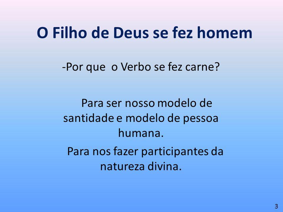 O Filho de Deus se fez homem -Por que o Verbo se fez carne? Para ser nosso modelo de santidade e modelo de pessoa humana. Para nos fazer participantes