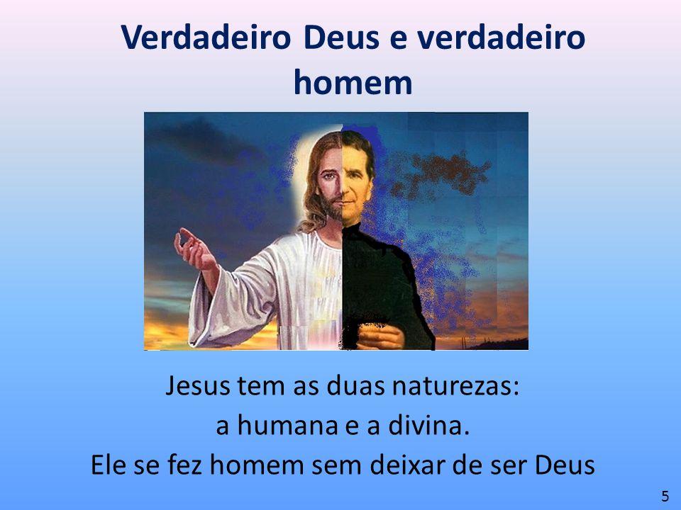 Verdadeiro Deus e verdadeiro homem Jesus tem as duas naturezas: a humana e a divina. Ele se fez homem sem deixar de ser Deus 5