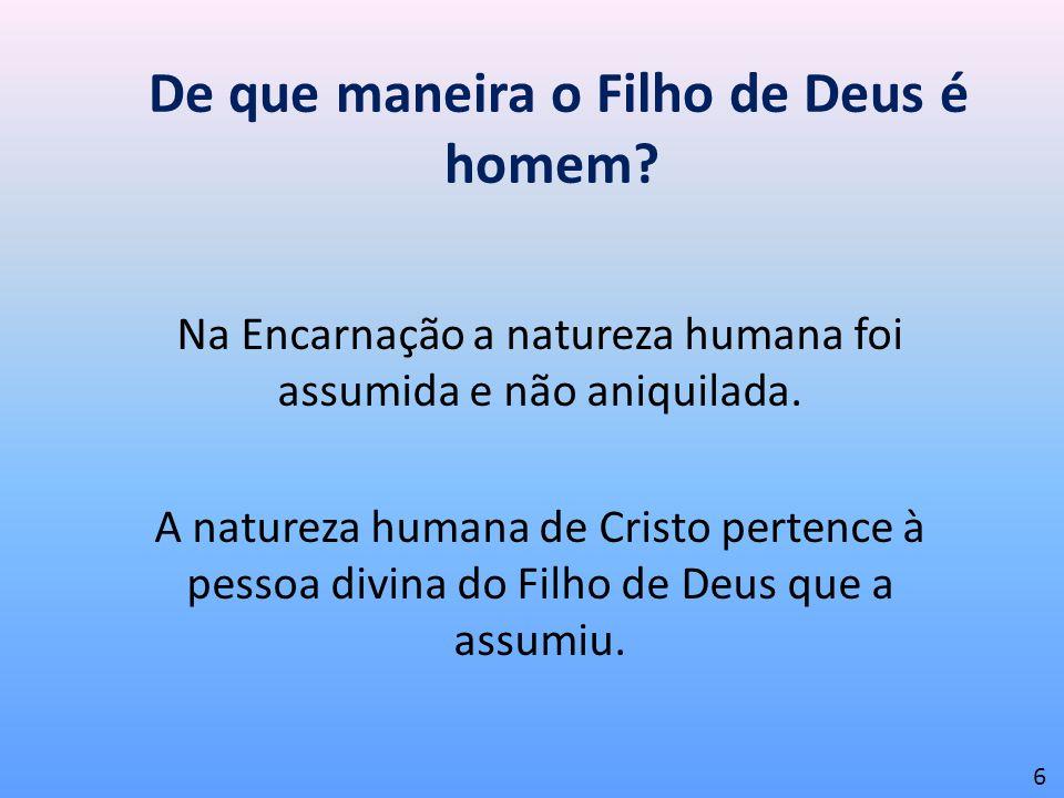De que maneira o Filho de Deus é homem? Na Encarnação a natureza humana foi assumida e não aniquilada. A natureza humana de Cristo pertence à pessoa d