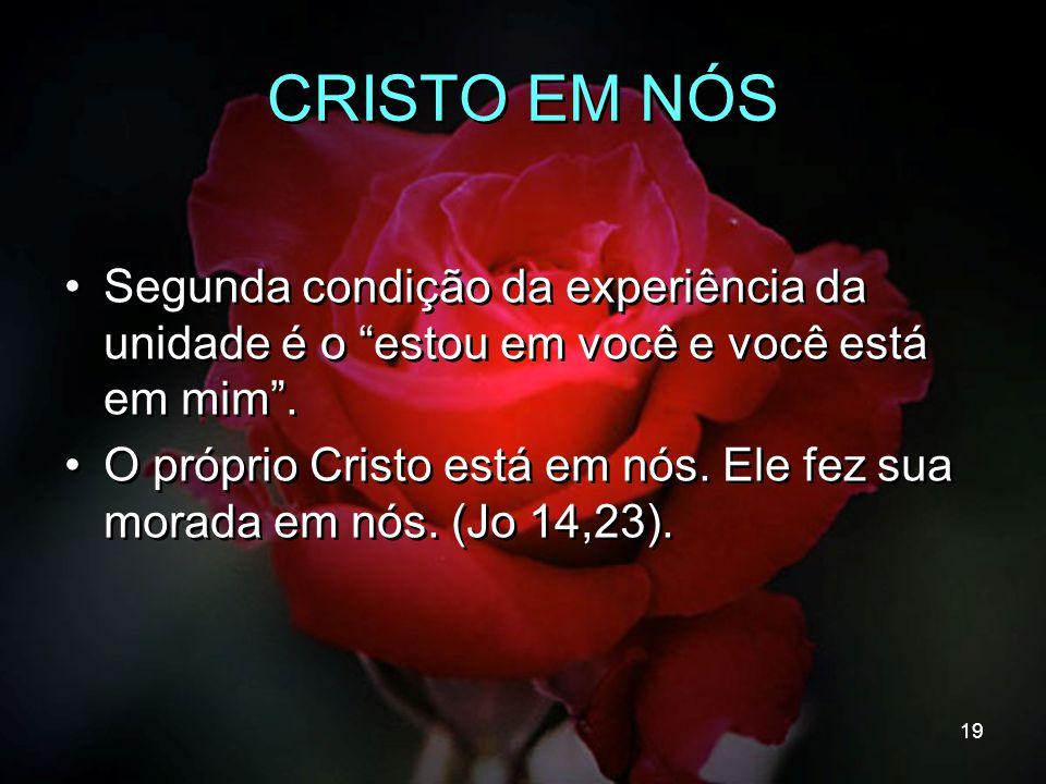 """19 CRISTO EM NÓS Segunda condição da experiência da unidade é o """"estou em você e você está em mim"""". O próprio Cristo está em nós. Ele fez sua morada e"""