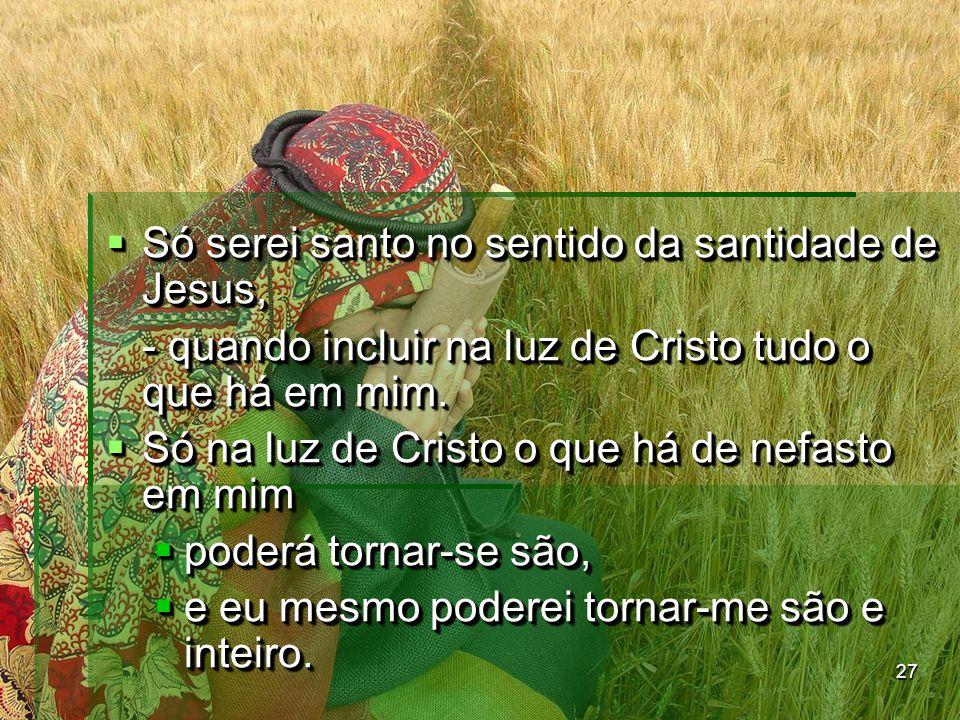 27  Só serei santo no sentido da santidade de Jesus, - quando incluir na luz de Cristo tudo o que há em mim.  Só na luz de Cristo o que há de nefast