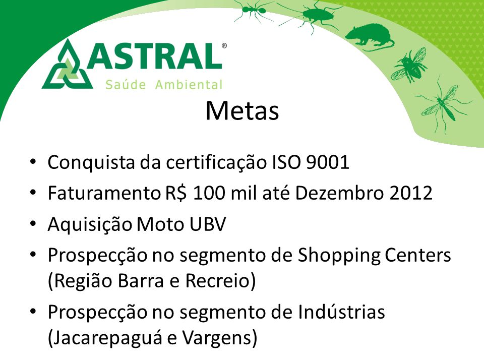 Metas Conquista da certificação ISO 9001 Faturamento R$ 100 mil até Dezembro 2012 Aquisição Moto UBV Prospecção no segmento de Shopping Centers (Regiã