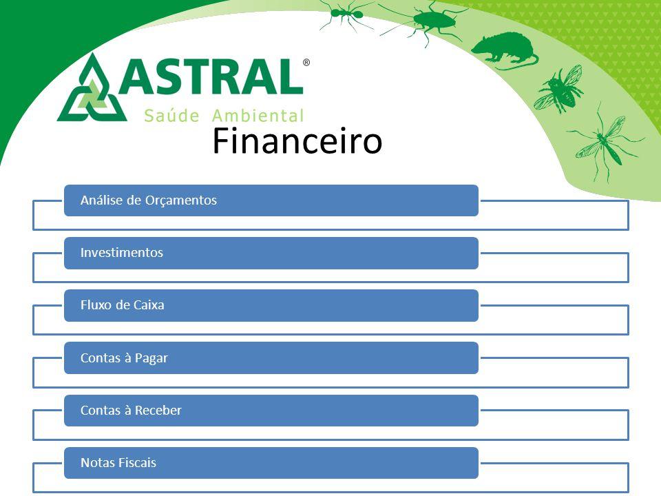 Financeiro Análise de OrçamentosInvestimentosFluxo de CaixaContas à PagarContas à ReceberNotas Fiscais