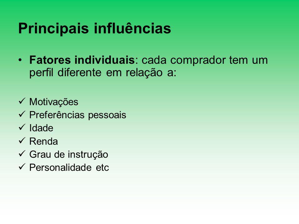 Principais influências Fatores individuais: cada comprador tem um perfil diferente em relação a: Motivações Preferências pessoais Idade Renda Grau de