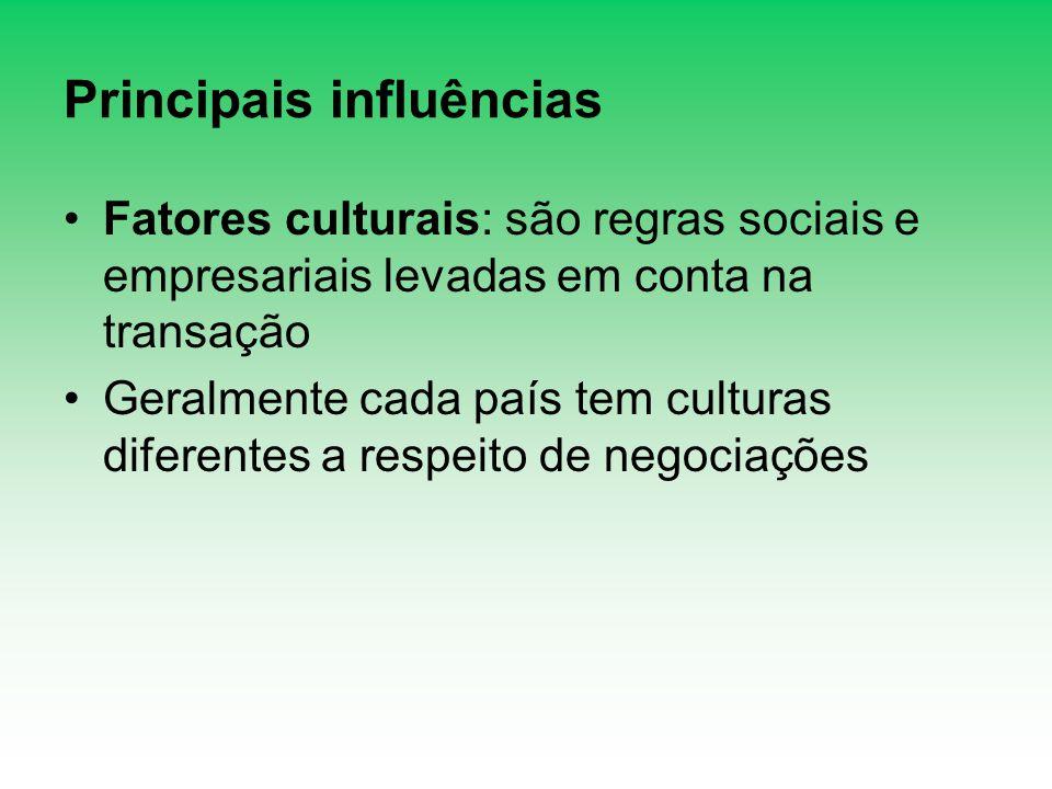 Principais influências Fatores culturais: são regras sociais e empresariais levadas em conta na transação Geralmente cada país tem culturas diferentes