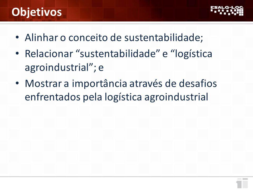 Alinhar o conceito de sustentabilidade; Relacionar sustentabilidade e logística agroindustrial ; e Mostrar a importância através de desafios enfrentados pela logística agroindustrial Objetivos