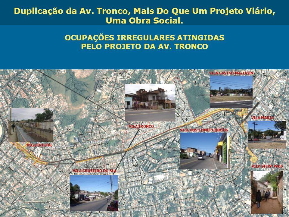 Obras de Mobilidade Urbana e Transporte Público – Porto Alegre Copa 2014 OCUPAÇÕES IRREGULARES ATINGIDAS PELO PROJETO DA AV. TRONCO VILA CRISTAL VILA