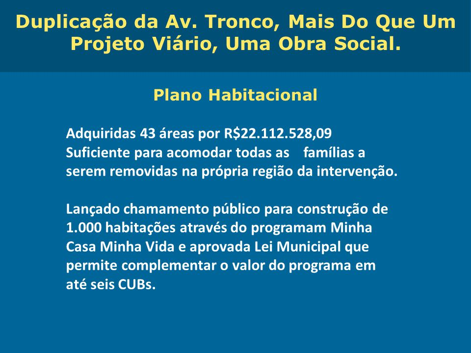 Obras de Mobilidade Urbana e Transporte Público – Porto Alegre Copa 2014 Plano Habitacional Adquiridas 43 áreas por R$22.112.528,09 Suficiente para ac