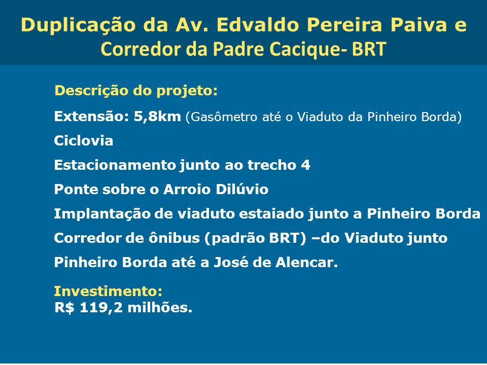 Obras de Mobilidade Urbana e Transporte Público – Porto Alegre Copa 2014 Duplicação da Av. Edvaldo Pereira Paiva e Corredor da Padre Cacique- BRT Desc