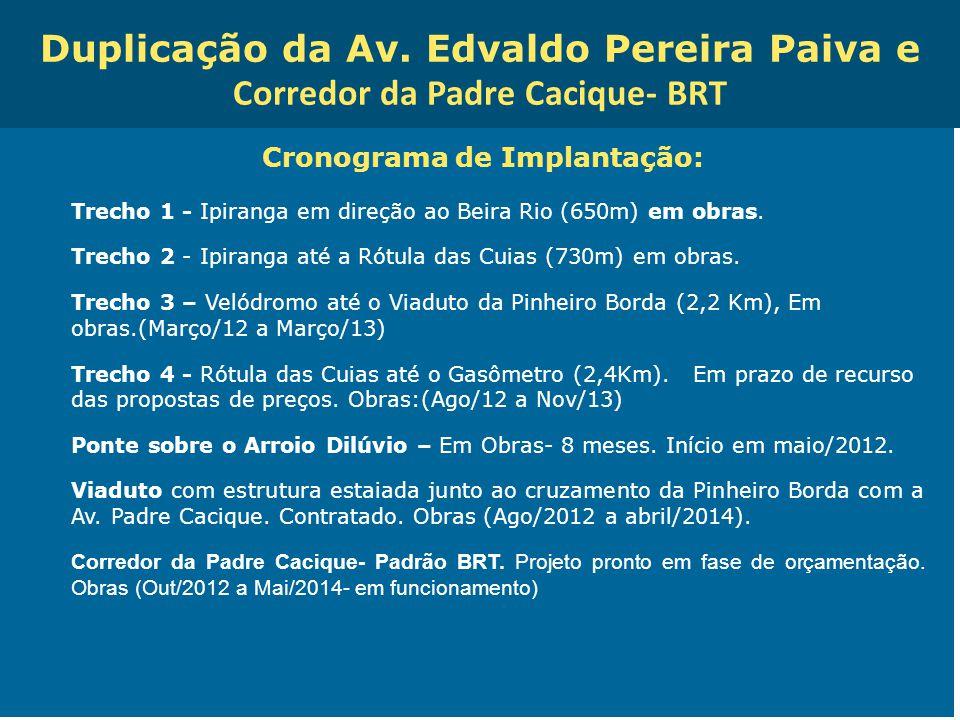 Obras de Mobilidade Urbana e Transporte Público – Porto Alegre Copa 2014 Duplicação da Av. Edvaldo Pereira Paiva e Corredor da Padre Cacique- BRT Cron
