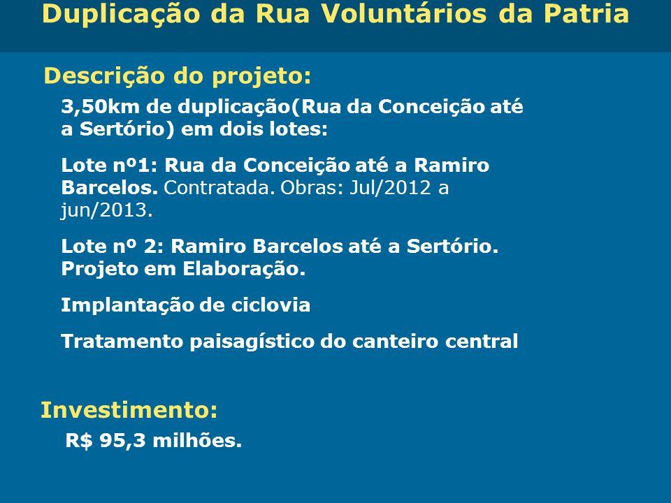Obras de Mobilidade Urbana e Transporte Público – Porto Alegre Copa 2014 Duplicação da Rua Voluntários da Patria Descrição do projeto: 3,50km de dupli