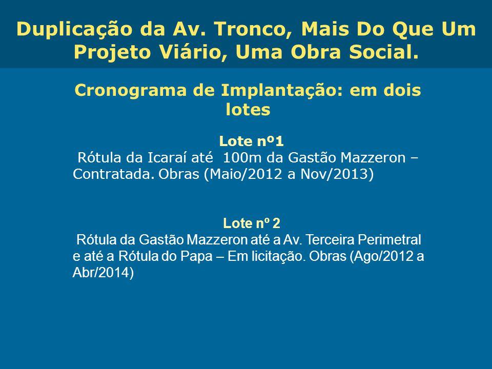 Obras de Mobilidade Urbana e Transporte Público – Porto Alegre Copa 2014 Cronograma de Implantação: em dois lotes Lote nº1 Rótula da Icaraí até 100m d