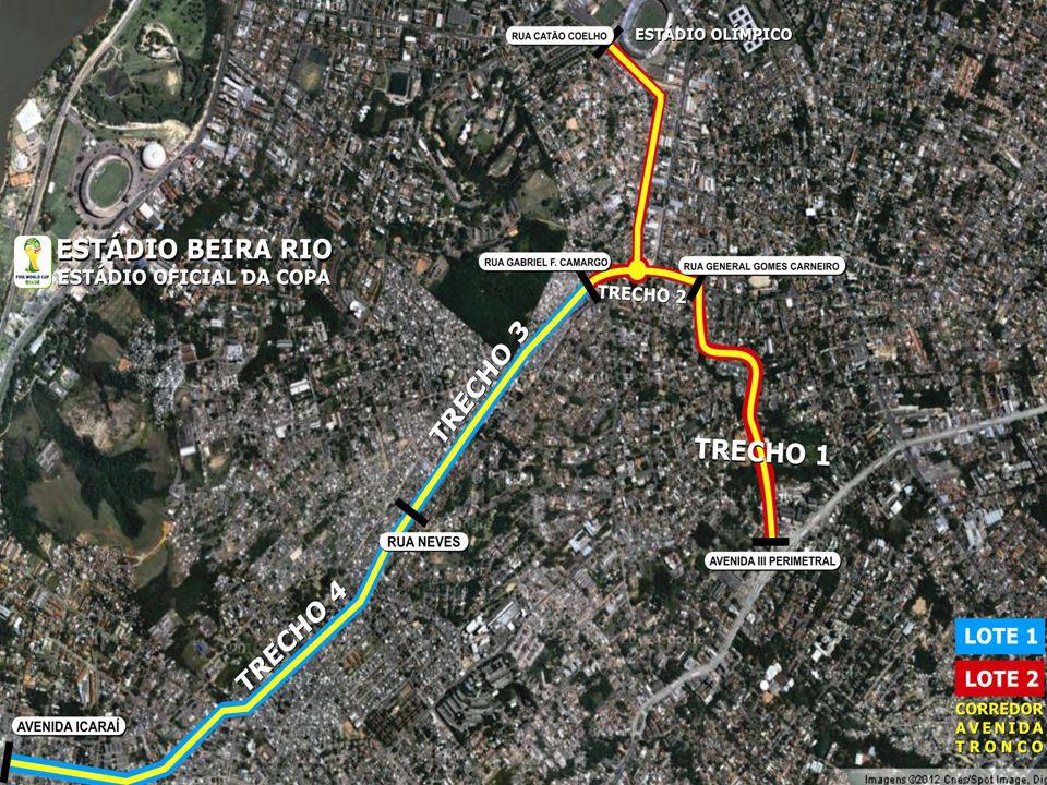 Obras de Mobilidade Urbana e Transporte Público – Porto Alegre Copa 2014 Descrição do projeto: 6,5 km de corredor em pavimento de placa de concreto desde a Estação de Integração Antônio de Carvalho até a Estação de Integração Azenha.