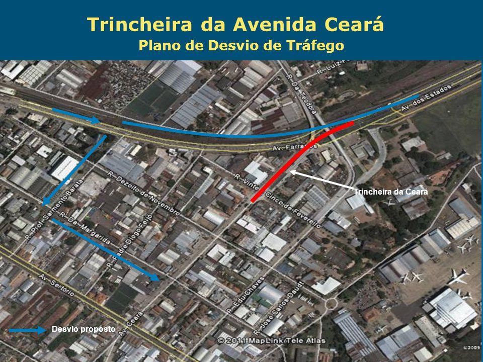 Obras de Mobilidade Urbana e Transporte Público – Porto Alegre Copa 2014 Plano de Desvio de Tráfego Desvio proposto Trincheira da Ceará Trincheira da