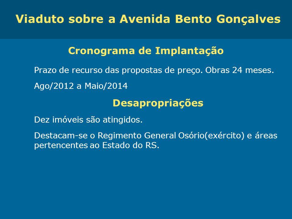 Obras de Mobilidade Urbana e Transporte Público – Porto Alegre Copa 2014 Viaduto sobre a Avenida Bento Gonçalves Cronograma de Implantação Prazo de re