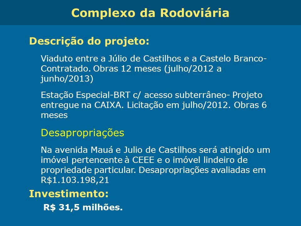 Obras de Mobilidade Urbana e Transporte Público – Porto Alegre Copa 2014 Complexo da Rodoviária Descrição do projeto: Viaduto entre a Júlio de Castilh