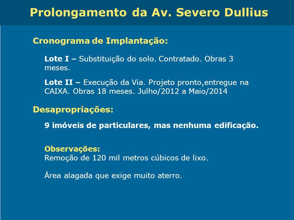 Obras de Mobilidade Urbana e Transporte Público – Porto Alegre Copa 2014 Prolongamento da Av. Severo Dullius Cronograma de Implantação: Lote I – Subst